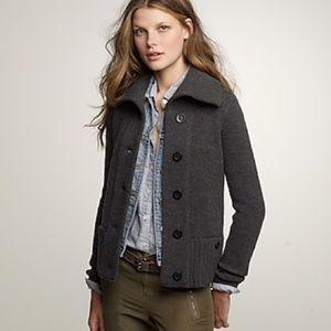 J. Crew Gray Merino Wool Arrow Sweater Jacket